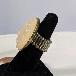 Jewelry - 🌜3 for $25 🌛Yellow Druzy Stone Stretch Ring